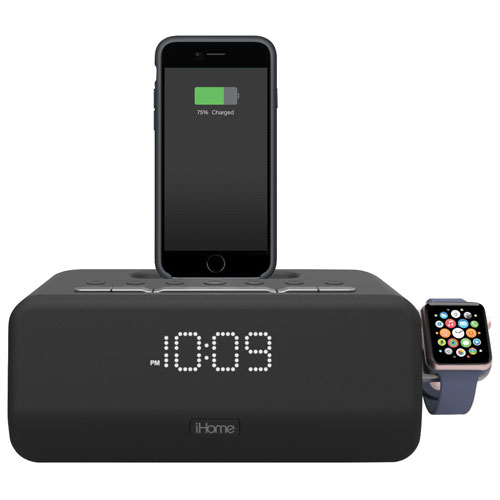 iHome Bluetooth Clock Radio with Apple Watch and Lightning Charging Dock (IPLWBT5BC) - Black