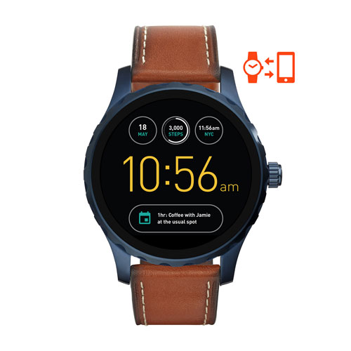 Fossil Q Marshal Gen 2 Men's 45mm Stainless Steel Smartwatch with Brown Leather Band