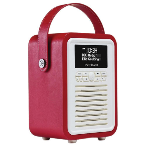 Radio-réveil Bluetooth Retro Mini de VQ - Rouge