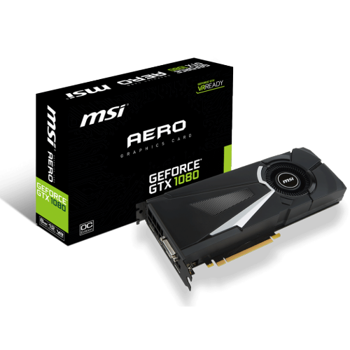 MSI GeForce GTX 1080 Aero 8G OC Video Card - 1632/1771 MHz, 8GB GDDR5X, PCI Express 3.0 x16, Dual Slot