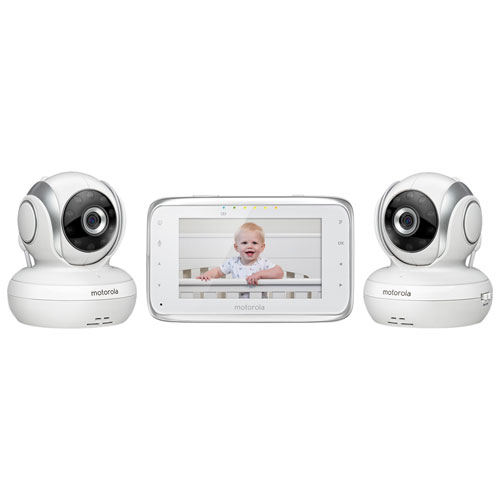 "Motorola 4.3"" Video Baby Monitor with Zoom/Pan/Tilt & Two-way Communication (BP38-2) - 2 Baby Cameras"