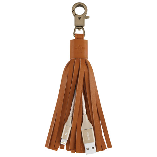 Belkin MIXIT UP Lightning to USB Leather Tassel Keychain Charging Cable - Gold
