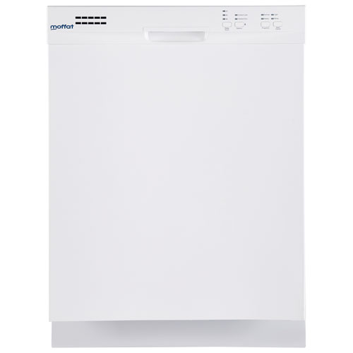 "GE Moffat 24"" 57dB Built-In Dishwasher with Stainless Steel Tub (MDF400SGFWW) - White"