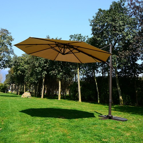 Outsunny 10FT Patio Hanging Umbrella Offset Garden Market Canopy Cover Khaki