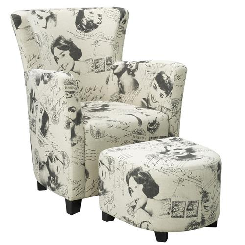 Club Chair and Ottoman, Marilyn Monroe Print
