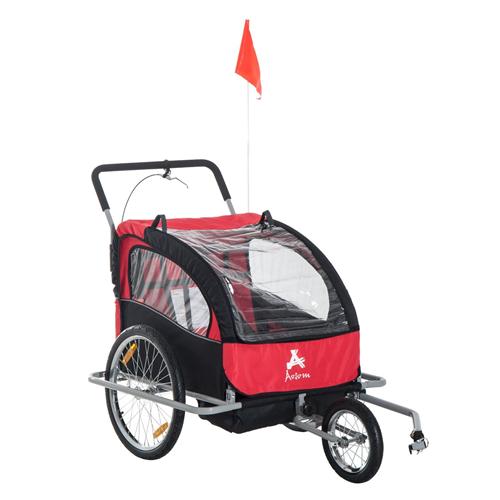 Aosom 2-in-1 Double Baby Bike Trailer Jogger Stroller Red