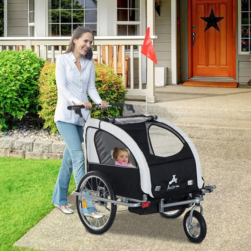 Aosom 3-in-1 Double Child Baby Bike Trailer and Stroller Black & White