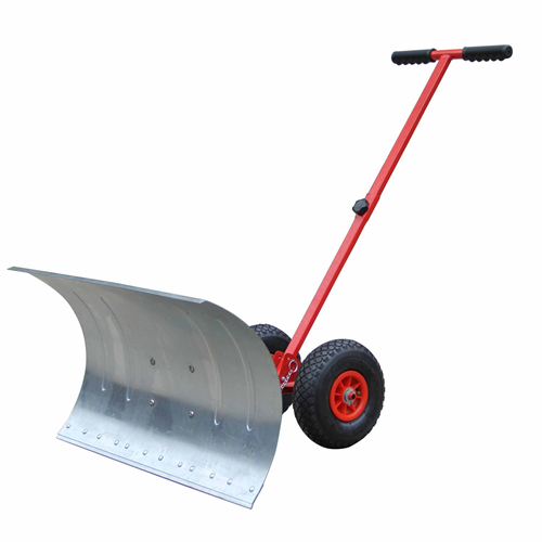 HOMCOM 17.7IN Deep Steel Snow Shovel Snowplough Removal with Wheels