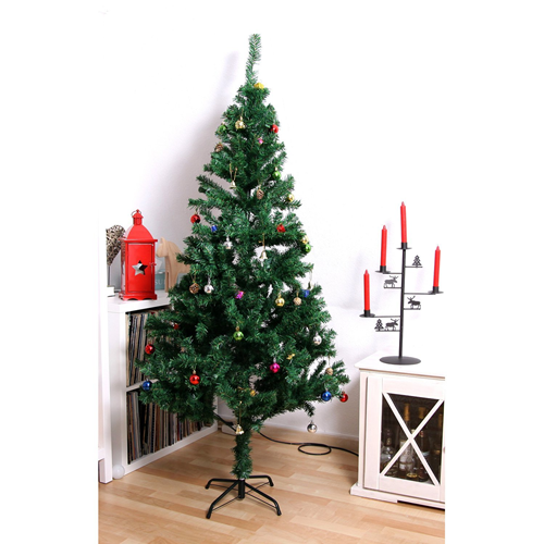 HOMCOM 6FT Artificial Christmas Tree Xmas Holidays Party 624 Tips with Decorations Green