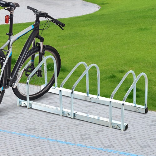 HOMCOM 3 Bicycle Floor Parking Storage Stand Rack Silver