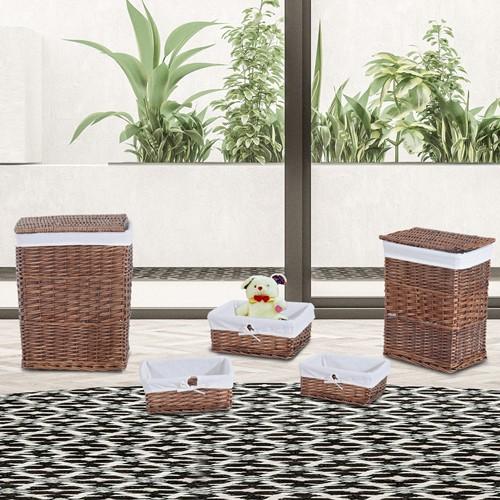 HOMCOM 5 Woven Wicker Storage Utility Baskets Set Laundry Hamper Brown
