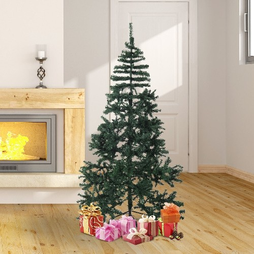 HOMCOM 6.9FT Artificial Christmas Tree Seasonal Décor GiFT Traditional Tree w/ Stand Green