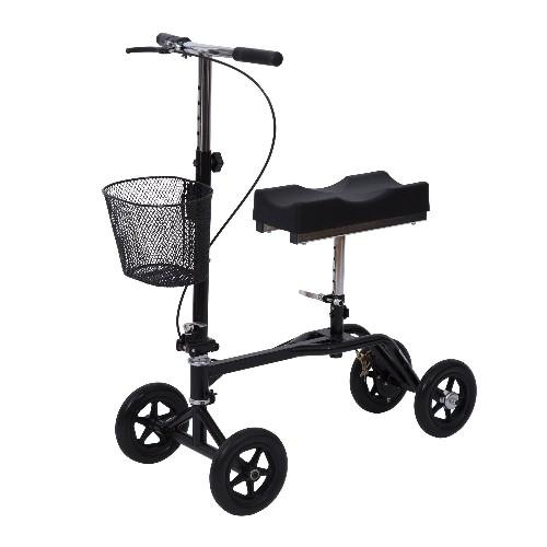 HOMCOM Adjustable Knee Walker Foldable Steerable Medical Scooter with Brake Basket Black