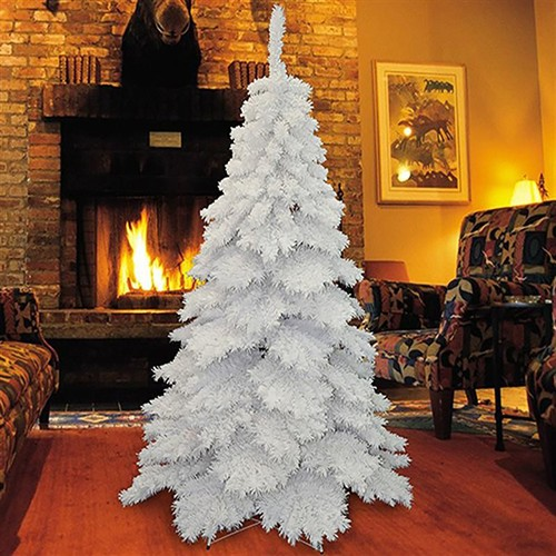 HOMCOM 6.9FT Flocked Christmas Tree Winter Holiday Decor Hooked Branches w/ Stand White