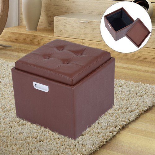 HOMCOM PU Leather Storage Ottoman Foot Stool Multi-function Seat with Hole Handle Brown