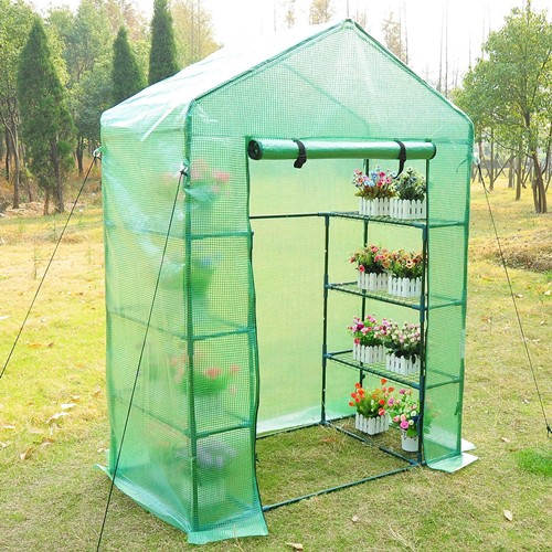 Outsunny 56×30×78 Inch Portable 4 Tier Warm Green House Plants Flower Greenhouse with Shelves Green