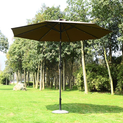 Outsunny 9FT Patio Solar LED Umbrella Outdoor Market Garden Parasol Brown & Coffee