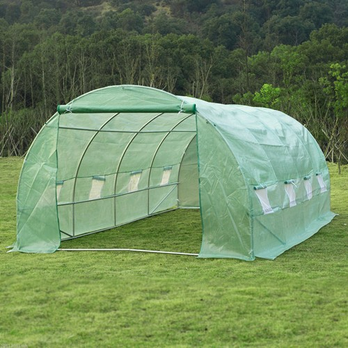 Outsunny 19.7ftx9.8FT Greenhouse Dome Gardening Plants Walk-in Tunnel Windows
