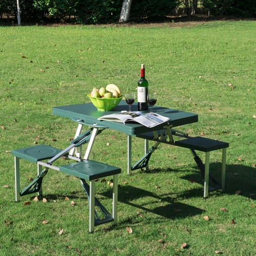 Outsunny Folding Picnic Table Chair Set Portable Junior Outdoor Seating Bench Dark Green