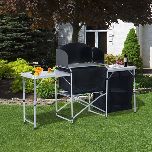 Outsunny Folding Camp Kitchen Table Picnic Cabinet Folding Cupboard Table With Wild Board Cooking Alu