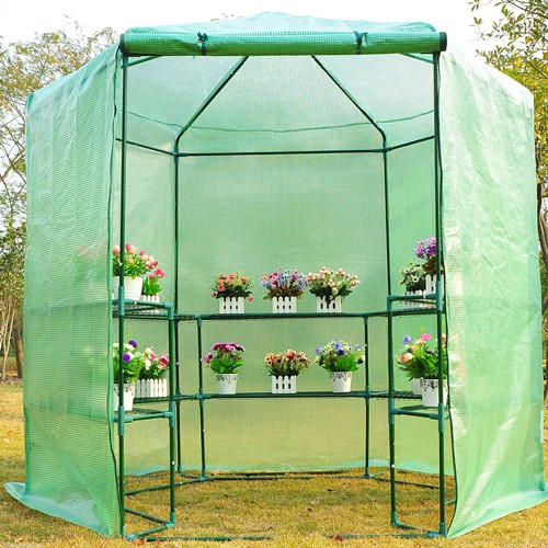 Outsunny 76.4x88.6inch Hexagonal Portable Walk-In Greenhouse Warm Plants Flower House with Shelves Green