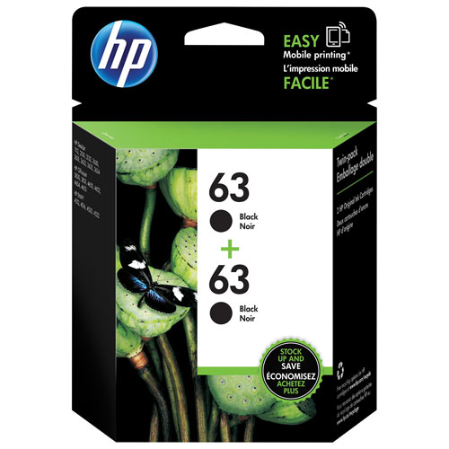HP 63 Black Ink Cartridge - 2 Pack