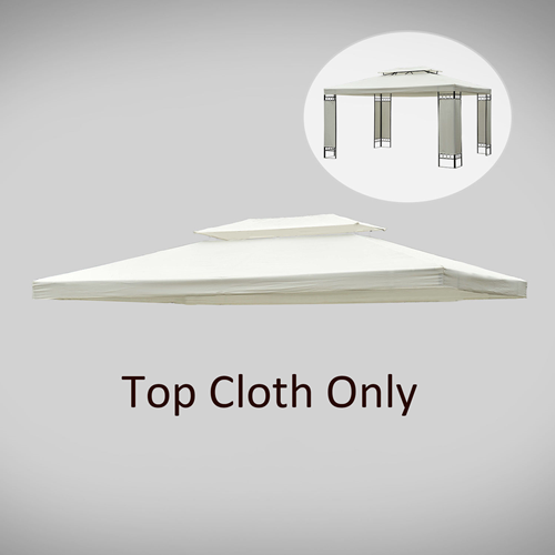 Outsunny 13x10ftGazebo Replacement Canopy 2 Tier Waterproof Top UV Cover Pavilion Garden Cream-white