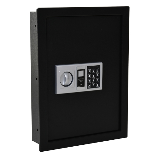 HOMCOM Steel Wall Mount Digital Safe Boxwith TheFT Lock Home Hotel Office Security Black