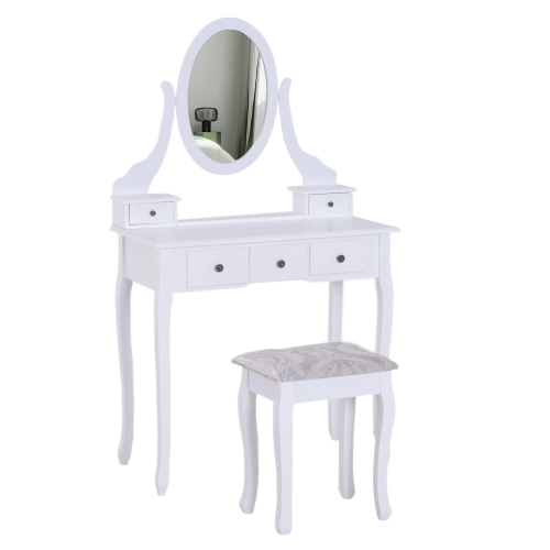 Homcom Dressing Table With Mirror Stool 5 Drawers White Bedroom