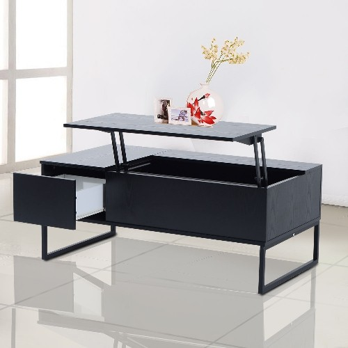 Homcom lift top coffee table convertible tea desk furniture wood storage foldable with tray Black lift top coffee tables