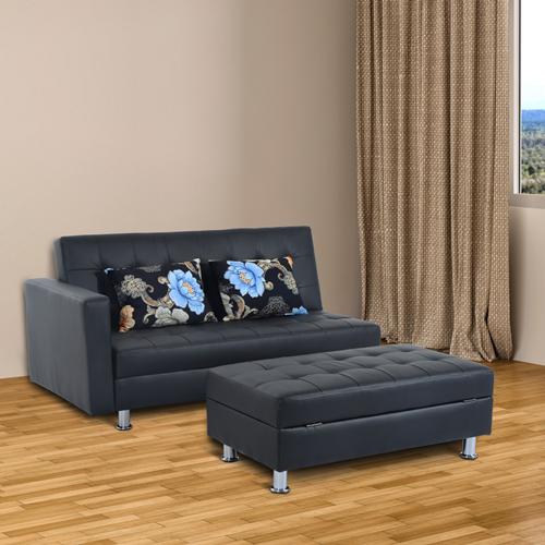 HOMCOM Corner Sofa Bed Couch Sleeper Lounge Ottoman Storage Stool Pillows  Furniture
