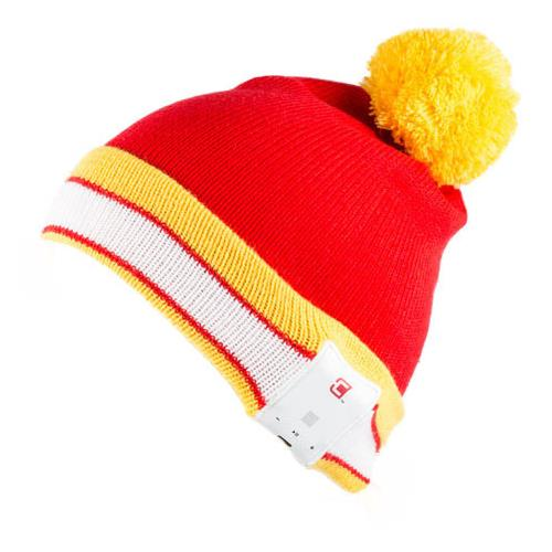 Caseco Bluetooth Toque - Old School Stripes - Pom-pom - Red and Yellow