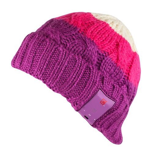 Caseco Dual Layered Bluetooth Toque Women's Cable Knit - Bright Colors - Orchid