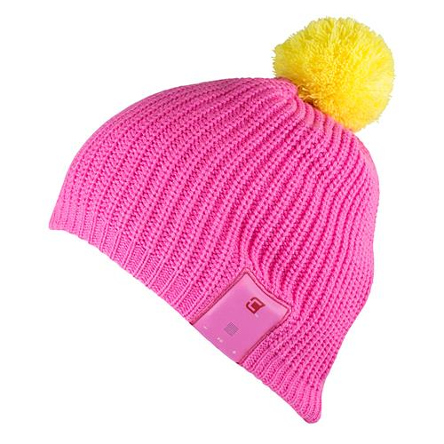Caseco Dual Layered Bluetooth Toque Women's Ski Hat - Pink with Yellow Pom-Pom