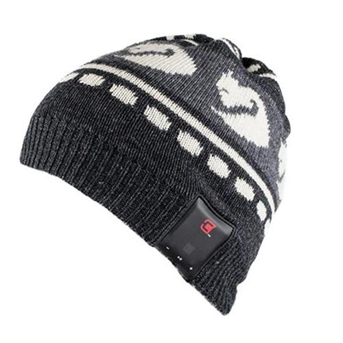 Caseco Dual Layered Bluetooth Men's Winter Toque - Gray with White Foxes - Universal