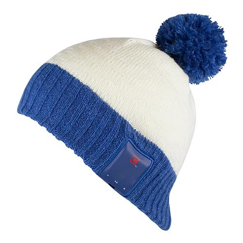 Caseco Bluetooth White Snow Toque with Blue Pom - Wire-Free Unisex