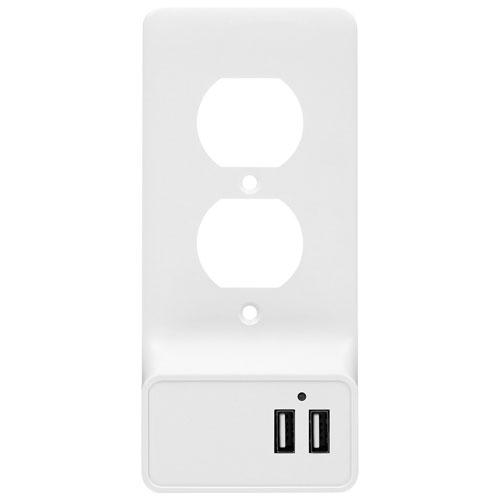 Plaque de prise murale à deux ports USB d'Aluratek (AUWCS02FR) - Blanc