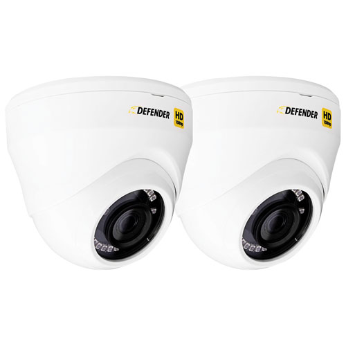Defender HD Wired Indoor/Outdoor 1080p Add-On Dome Security Cameras - 2 Pack - Black
