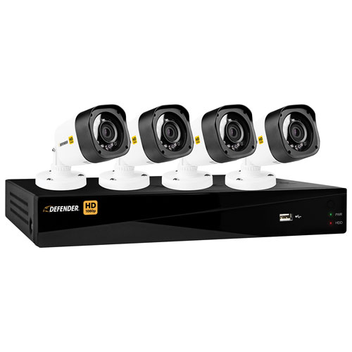 Defender HD1080p Wired 4-CH 1TB DVR Security System with 4 Bullet Cameras - Black