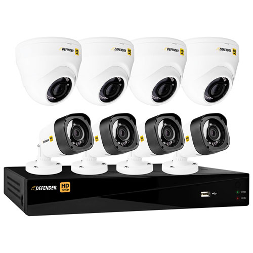 Defender HD1080p Wired 8-CH 1TB DVR Security System with 4 Dome Cameras & 4 Bullet Cameras - Black