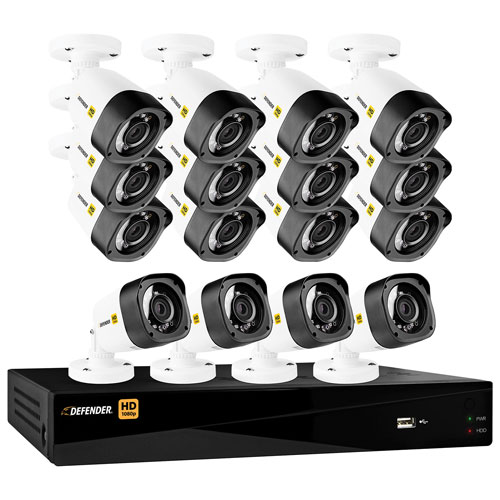 Defender HD1080p Wired 16-CH 2TB DVR Security System with 16 Bullet Cameras - Black