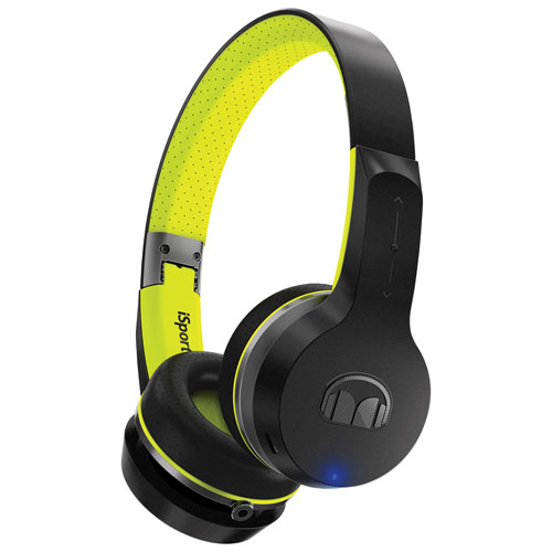 Monster iSport Freedom On-Ear Sound Isolating Bluetooth Headphones with Mic - Black/Green