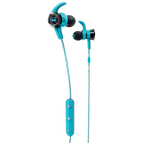 Écouteurs bouton à isolation sonore Bluetooth avec microphone iSport Victory de Monster - Bleu