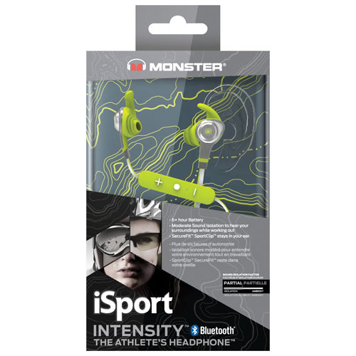 aa178cce81f Monster iSport Intensity In-Ear Sound Isolating Bluetooth Headphones with  Mic - Green   Best Buy Canada