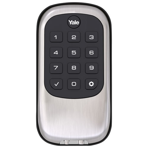 Yale Key Free B1L Lock - Push Button Deadbolt - Satin Nickel