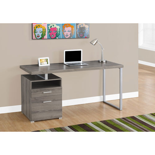 bureau d 39 ordinateur sans fond taupe fonc bureaux et postes de travail best buy canada. Black Bedroom Furniture Sets. Home Design Ideas