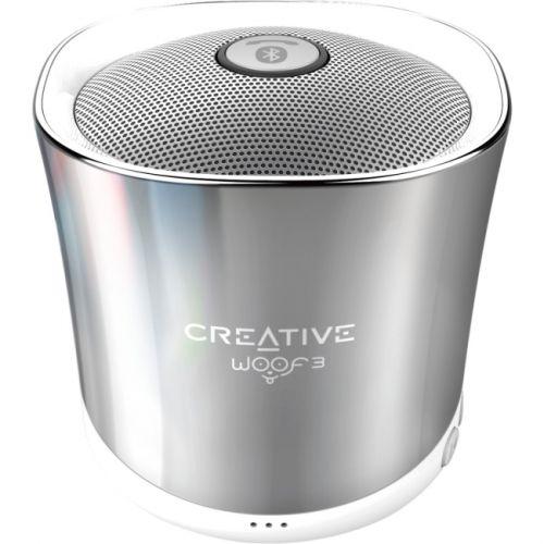 Creative Woof3 Speaker System - Portable - Battery Rechargeable - Wireless Speaker(s) - Chrome