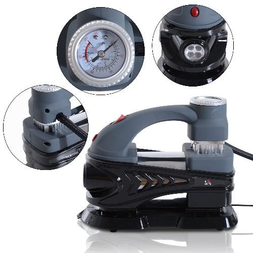 HOMCOM 12V Portable Car Auto Tire Inflator Air Compressor 100PSI w/ Lights