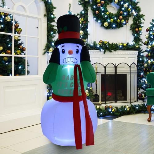 HOMCOM 7FT Christmas Airblown Inflatable Snowman Lighted W/ 3 LEDs Xmas Decoration