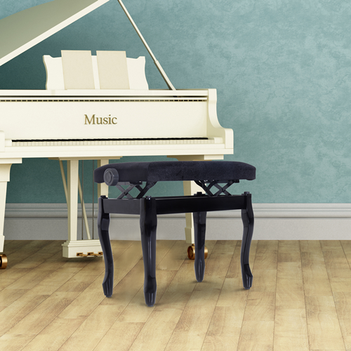 HOMCOM 25inch Durable Piano Bench Adjustable Height Padded Seat Lint Keyboard